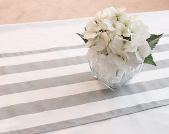 Grey Striped Table Runner, Choose Length, Wedding Table Decor, Gender  Reveal Party,