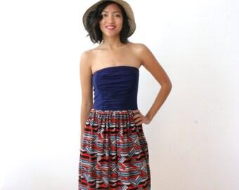 CLEARANCE - Womens Strapless Dress, Preppy Chevron Dress, Summer Sundress, Navy Blue Dress, Orange Dress, Knee Length, Summer - JOSIE