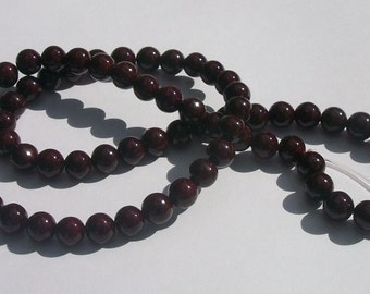 Riverstone,  Gemstone Rounds hand cut dyed 1 strand Dark Red - Available in 4mm, 6mm, 8mm, 10mm and 12mm