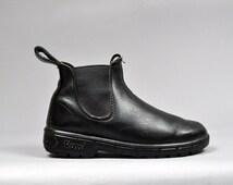 Vtg 1990's Black LUG Combat Chelsea Work Ankle Boots 6 8