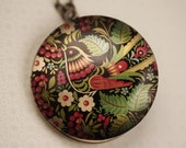 Large Damascene Bird Locket Necklace, Colorful Flowers, Long Antiqued Brass Chain, Aqua Blue Floral, Red, Green Leaves, Black Image Pendant