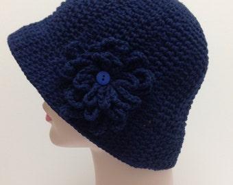 Large Hat, Navy blue Cotton hat, Sun Hat, Brimmed Hat, Great for Chemo Patients, Crochet hat