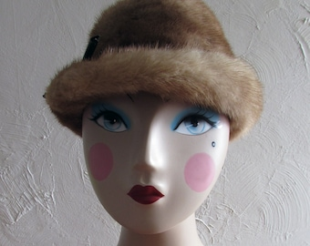 Vintage Genuine Mink Ladies' Hat with Leather Ribbon Detail - FREE SHIPPING in U.S.
