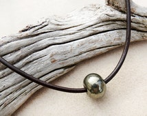 Men's Pyrite and Leather Necklace, Rondelle Pyrite Stone, Dark Brown or Black Leather, Rustic Mens Necklace, Zen, Handmade Man's Jewelry