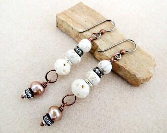 Creamy Howlite, Copper, Carved Bone, Pearl, Niobium Earrings, Non-allergenic Ear Wire, Crystals, Sensitive Ears, Handmade Earrings Jewelry