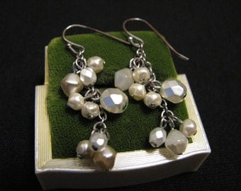 Vintage Silver Tone and White Faux Glass Pearl Beaded Beaded Chain Pierced Earrings