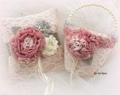 Flower Girl Basket, Wedding, Ring Bearer Pillow, Ivory, Blush, Gray, Mauve, Lace, Pearls, Brooch, Crystals, Vintage, Elegant