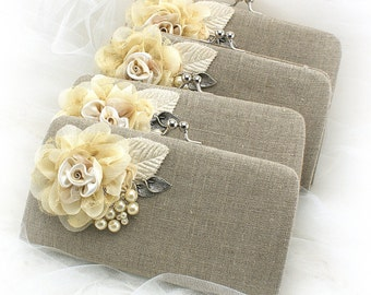 Linen Clutches, Handbags, Bags, Ivory, Tan, Elegant Wedding, Rustic,Vintage Style,Bridal, Bridesmaids,Shabby Chic, Bridesmaids, Lace, Pearls