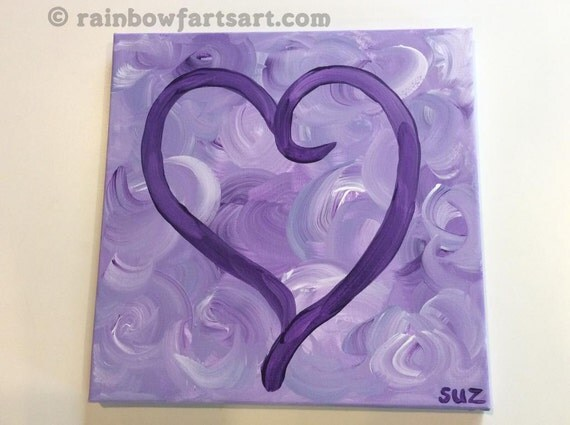 12x12 purple swirls heart love painting - acrylic on canvas - made to order replication