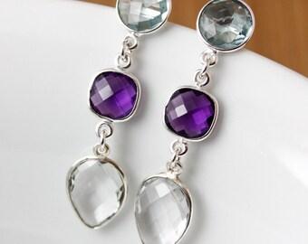 Triple Gemstone Earrings - Aqua Quartz, Amethyst Quartz, Crystal Quartz - Sophisticated