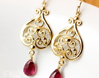 Gold Pink Tourmaline Earrings - Filigree Earrings - 14K GF