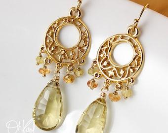 Champagne Citrine Sapphire Earrings - Chandelier Earrings - 14kt Gold Fill