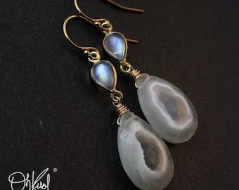 Gold Rainbow Moonstone & Solar Quartz Earrings - 14K GF - Statement Earrings