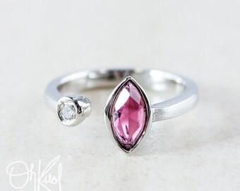 Ruby Pink Tourmaline Dual Stone Ring - Diamond - Multi Stone Ring