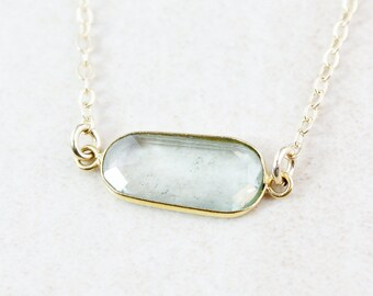 Sage Green Tourmaline Necklace - Organic Shape - 14K GF