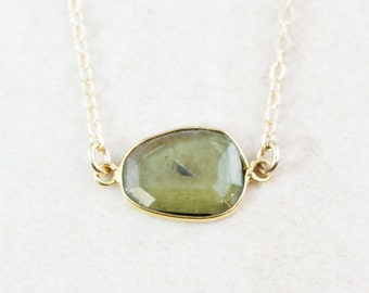 Olive Green Tourmaline Necklace - Tourmaline Jewelry - Choose Your Pendant