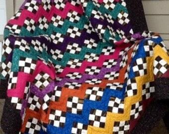 rainbow nine patch quilt