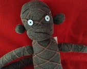 Gray with Pink Diamond pin stripes Sock Monkey with blue button eyes