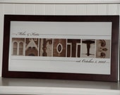 Alphabet Photography- Personalized Photo Letter Art 10x20- Sepia- FRAMED Name