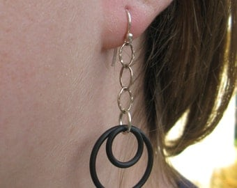 sterling silver and black rubber earrings  ...  industrial  ...   urban