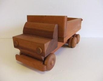 Vintage Handmade Dump Truck Solid Wood Toy Truck