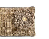 Khaki Fabric Flower / Brown Clutch Handbag - READY TO SHIP