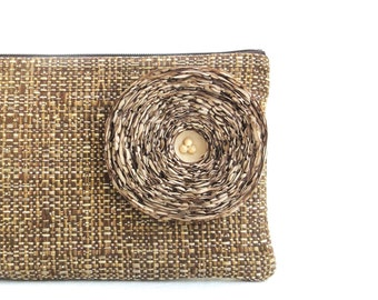Khaki Fabric Flower / Brown Clutch Handbag - READY TO SHIP