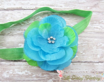 Turquoise & Lime Green Flower Headband, Layered Flower w/ Rhinestones Lime Green Headband or Hair Clip, The Mia, Baby Child Girls Headband