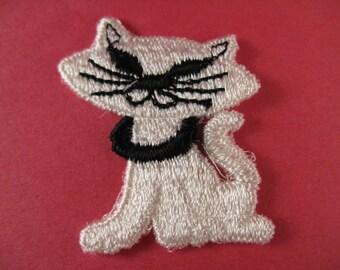 beatnik cat patch vintage retro cat appliqué vintage kitten jacket patch new old stock