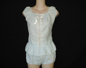 50s girl's babydoll set blue floral nightie baby doll lingerie short nightie bloomers new old stock