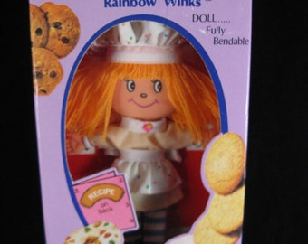 vintage the cooky box doll rainbow winks by data 1981 new in original box