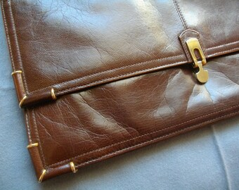 Vintage Made In Italy Clutch Handbag Opulent Kid Leather Folder Accessories Seventies Luxury