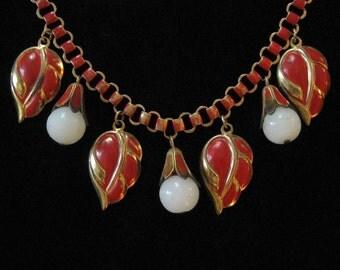 1940's Red Enamel Book Chain Leaf Fringe Necklace