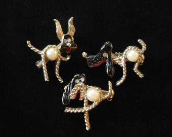 Vintage Scatter Pins, Dogs with Rope Limbs, Adorable Set of Three