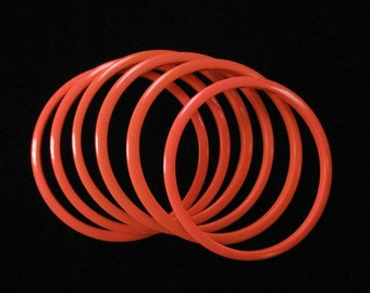 Coral Dayglo Lucite Bangle Bracelets, Set of 6 Spacer Size Bangles