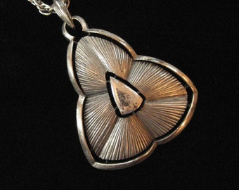Pewter Pendant Necklace, 1970's Abstract Modern Statement Pendant