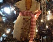 Primitive Snowman sitter or large Ornament