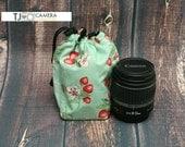 Dslr SLR, Camera Accessory, Lens Gear, Fabric Lens Cozy, Drawstring Pouch, Strawberry Print, Sea Foam Green, TJ Accessories