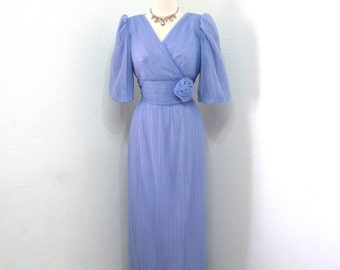 Vintage 1960s Lavender Dress by Alicia Accordian Maxi dress Cocktail Party Formal Prom Gown S/M