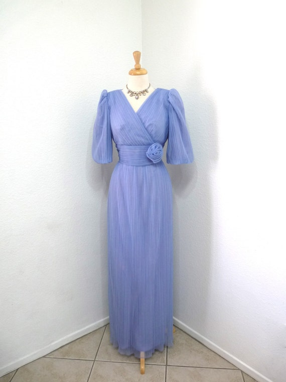Vintage Formal 1960s Dress,  60s Purple Dress, Alicia Bohemian wedding Accordion Maxi Bridesmaid Cocktail Party Prom Wedding Dress S/M