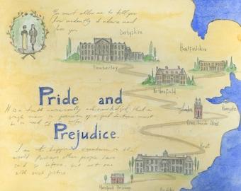 Map of Pride and Prejudice.  Art Print.  8x10 inches. Jane Austen art.