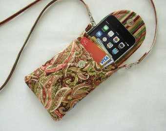 Iphone 6 Case Gadget Case Detachable Neck Strap Quilted Paisley Pinks Green