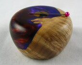Wooden Magnetic Needle Keeper  - Big Leaf Maple and Alumilite Resin with Black and White Ebony, Handmade by Greg Hanson