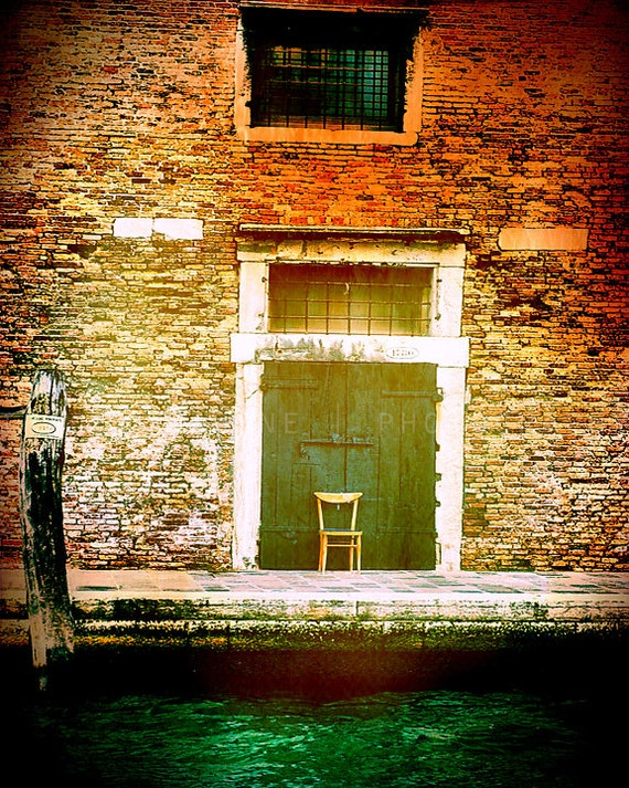 Venice Photography, Italy art print, door photograph, travel decor, Venice canals, orange, emerald green, Italian wall art, Italy home decor
