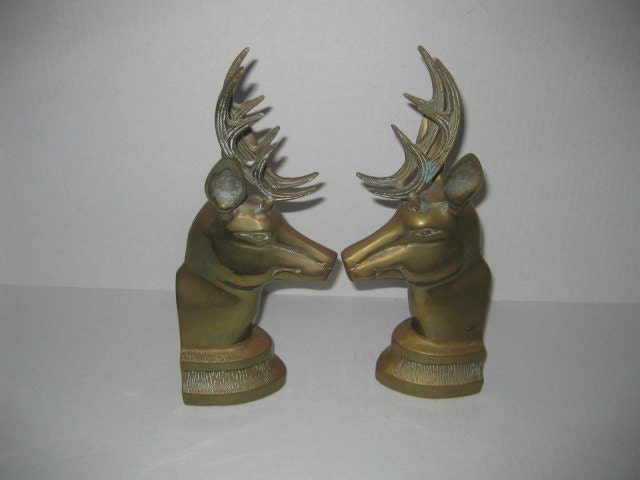 Vintage stag deer brass bookends large - Stag book ends ...