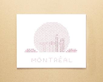 Montreal Biosphere greeting card - typewriter art ASCII card - Montreal greeting card