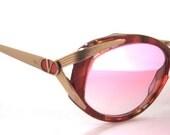 Vintage VALENTINO Sunglasses // 1980s 1990s Designer Frames // new pink lenses // made in Italy // model v665 // Valentino