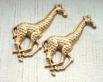 3 Vintage Large Brass Giraffe Stamping // Jewelry Supply // NOS