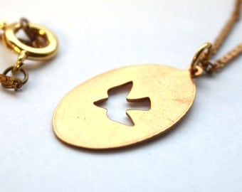 "Handmade Brass Dove Stamp Necklace // Vintage 1950s 60s Brass Chain and Dove Stamped Pendant // 18"" Necklace"
