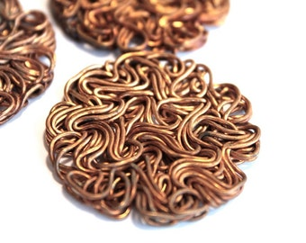 3 Vintage 1960's Wire Copper Disk Findings // 50s 60s Abstract Atomic // Swirly